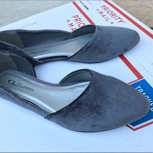Chinese Laundry Gray Velvet D'Orsay Slip On Flats